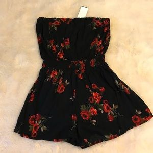 Romper- Strapless, Black with Rose Pattern